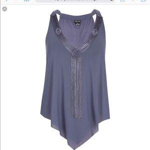 Knit Plus Tunic with Macrame Fringe Neckline- New